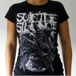 Tricou girlie SUICIDE SILENCE - Logo Alb